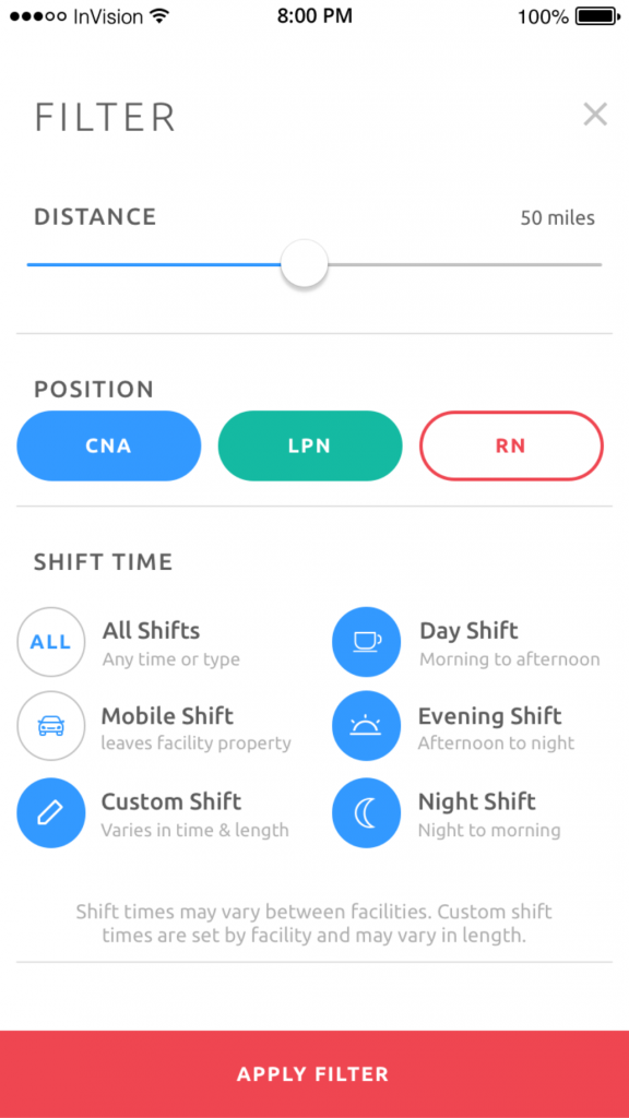 LeverageIT Eshyft Nursing App Screen